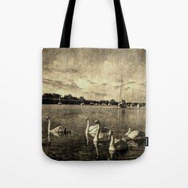 Serene Swans Vintage Tote Bag