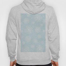 Assorted White Snowflakes On Light Blue Background Hoody