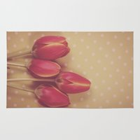 antique Area & Throw Rugs featuring Antique Tulips by Jessica Torres Photography