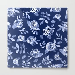 Hand painted navy blue white watercolor floral roses pattern Metal Print