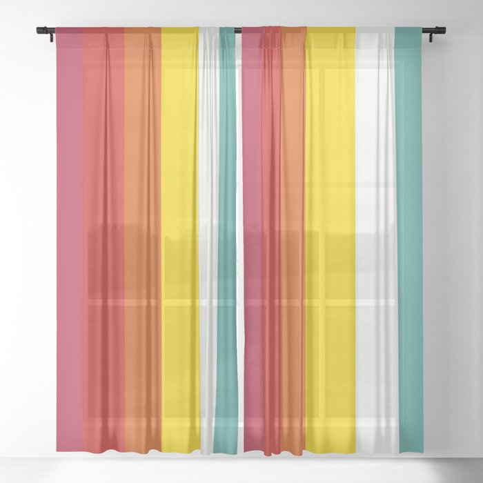 Trickster - Classic Colorful Stripes Design Sheer Curtain