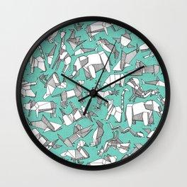 origami animal ditsy mint Wall Clock