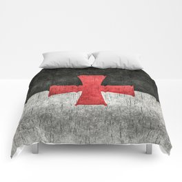 Knights Templar Flag in Super Grunge Comforters