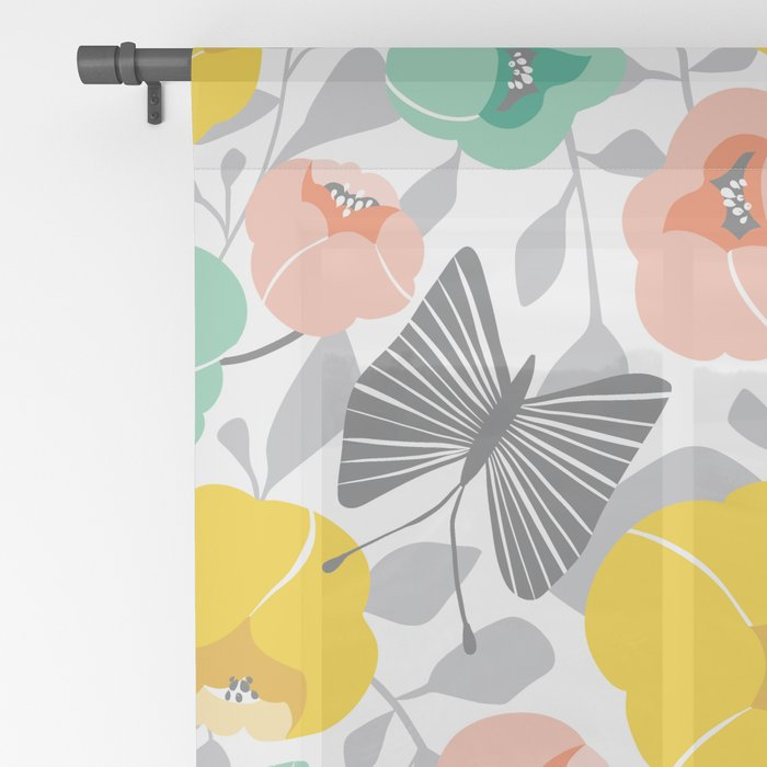 Butterfly Blossom Floral - Peach Sheer Curtain