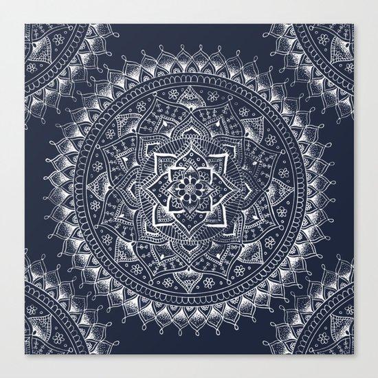 White Flower Mandala on Dark Blue Canvas Print