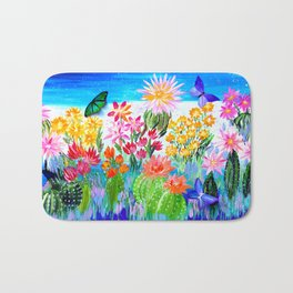 Succulent Garden with Butterflies Bath Mat