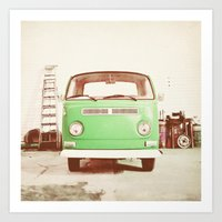 volkswagon Art Prints featuring Vintage Volkswagen Bus (Green Edition) by Laura Ruth