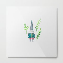 Summer Gnome - Green Leaves Metal Print