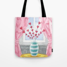 Love Nest, Valentine, Hearts, red heart flowers, sandy thomson Tote Bag