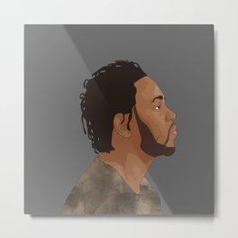 Kendrick Lamar, Gray Metal Print