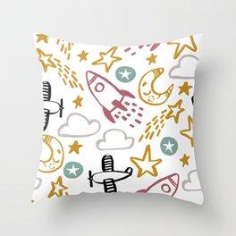 Happy Rocket Throw Pillow