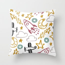 Happy Rocket Throw Pillow