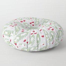 Winter Berries in Gray Floor Pillow