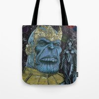 thanos Tote Bags featuring Thanos by GraphixRob Studios