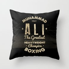 Boxing Ali Canvas Throw Pillow