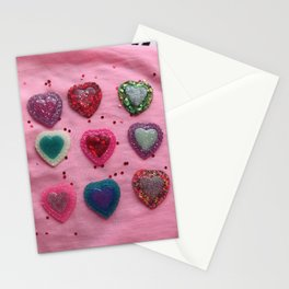 Glitter Hearts Club Stationery Cards