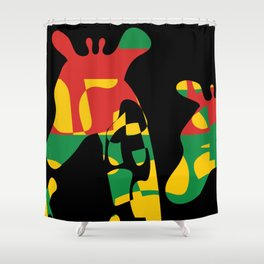 Endangered Species: Giraffes in African colors Shower Curtain
