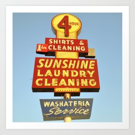Sunshine Laundry Cleaning (Square) Art Print