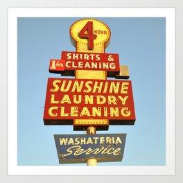 Sunshine Laundry Cleaning (Square) Art Print