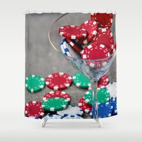 poker Shower Curtains featuring Poker night by smittykitty