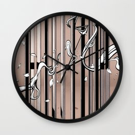 "Typography x illustration ""FLIP"" incorporate with abstract lines and flowers' movement Beige Pink Wall Clock"