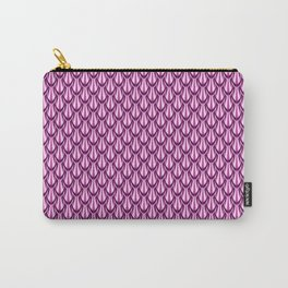 Gleaming Pink Metal Scalloped Scale Pattern Carry-All Pouch