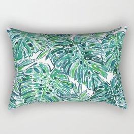 JUNGLE VIBES Green Tropical Monstera Leaves Rectangular Pillow
