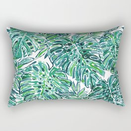 JUNGLE VIBES Green Tropical Monstera Leaves Rectangular Pillow