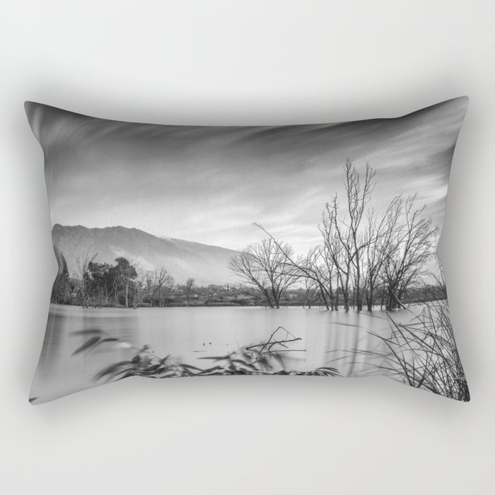 """Windy Clouds"". At the lake. BW Rectangular Pillow"