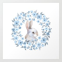 Rabbit and floral wreath. Watercolor Art Print
