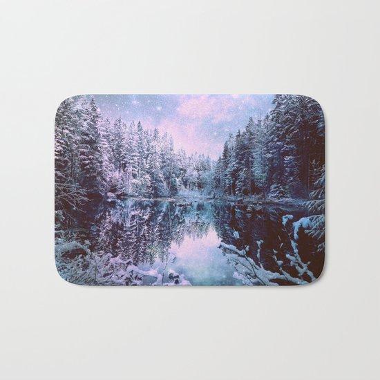 Lavender Blue Winter Wonderland Forest Bath Mat