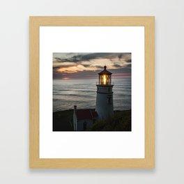 Heceta Head Lighthouse at Sunset Framed Art Print