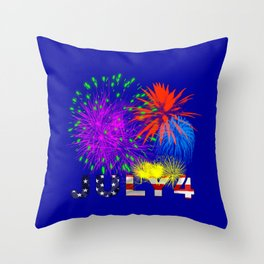 America 4th of July Fireworks Throw Pillow