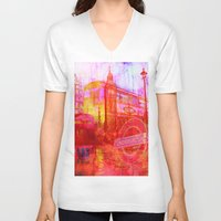 london V-neck T-shirts featuring LONDON by Ganech joe