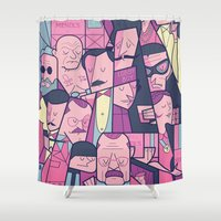 ale giorgini Shower Curtains featuring Grand Hotel by Ale Giorgini