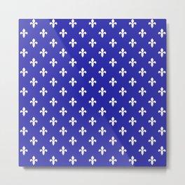 Fleur-de-Lis (White & Navy Blue Pattern) Metal Print