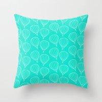 hot air balloons Throw Pillows featuring CUTE HOT AIR BALLOONS by Allyson Johnson