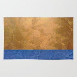 Copper Metallic With Tuscan Blue Stripe Trim Rug