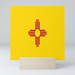 flag new mexico-usa,america,sun,Zia Sun symbol,New Mexican,Albuquerque,Las Cruces,santa fe,roswell Mini Art Print
