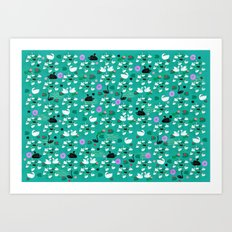 swan lake pattern-teal Art Print