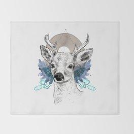 The Deer (Spirit Animal) Throw Blanket