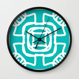 Medallion turquoise & white abstract Wall Clock