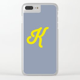 Letter K grey and yellow Clear iPhone Case