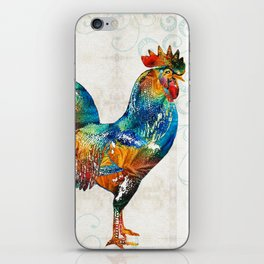 Colorful Rooster Art by Sharon Cummings iPhone Skin