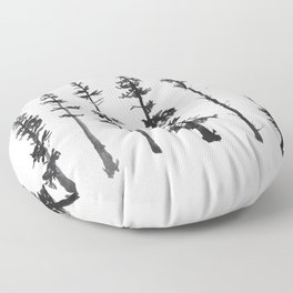 Watercolor Tree Silhouettes Floor Pillow