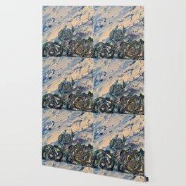 Blue flowers of the mist Wallpaper