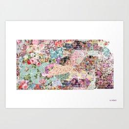 Kansas map flowers Art Print
