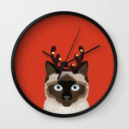 Siamese Cat Reindeer Costume funny cat art for cat lady gift for the holidays cats christmas outfit Wall Clock