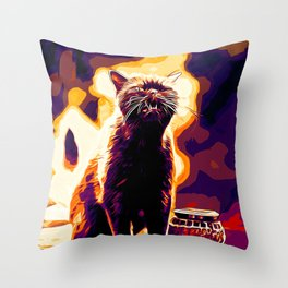 british shorthair cat ready to attack vector art late sunset Throw Pillow
