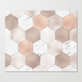Rose pearl and marble hexagons Canvas Print